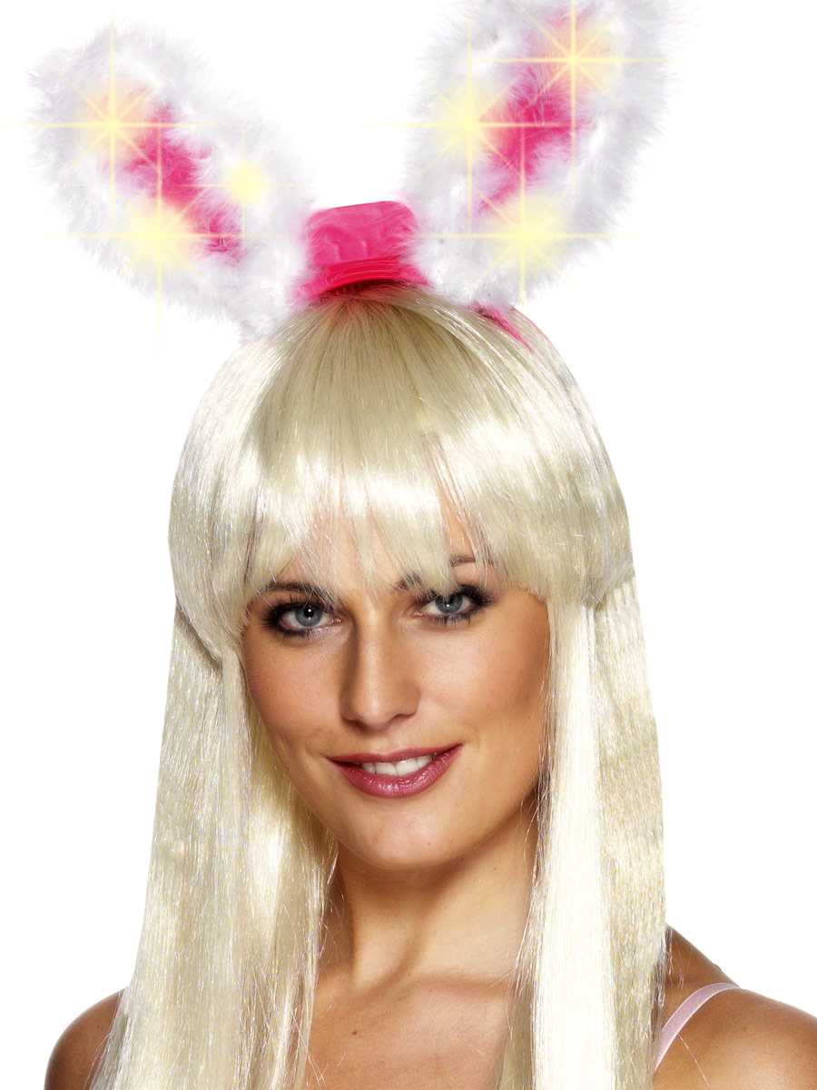 UV & NEON Blanc et marabout rose Light Up & Glow Bunny Ears