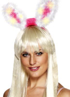 Blanc et marabout rose Light Up & Glow Bunny Ears UV & NEON