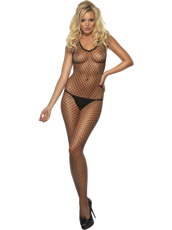 Costumes de fièvre Treillis longue Net noir Body Stocking