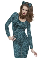 Body bleu imprimé de léopard Justaucorps & culottes