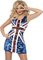 Tous ce Costume Glitters règle Britannia Spice Girl Costume
