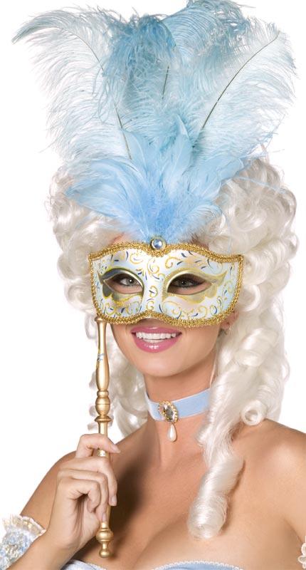Masque Adulte Baroque masque or bleu