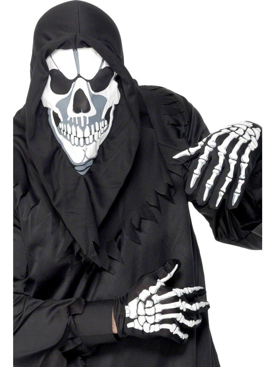 Masque Adulte Crâne cagoule et gants tissu noir
