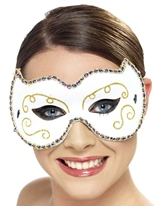 Persan Eyemask blanc et or Masque Adulte