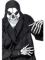 Crâne cagoule et gants tissu noir Masque Adulte