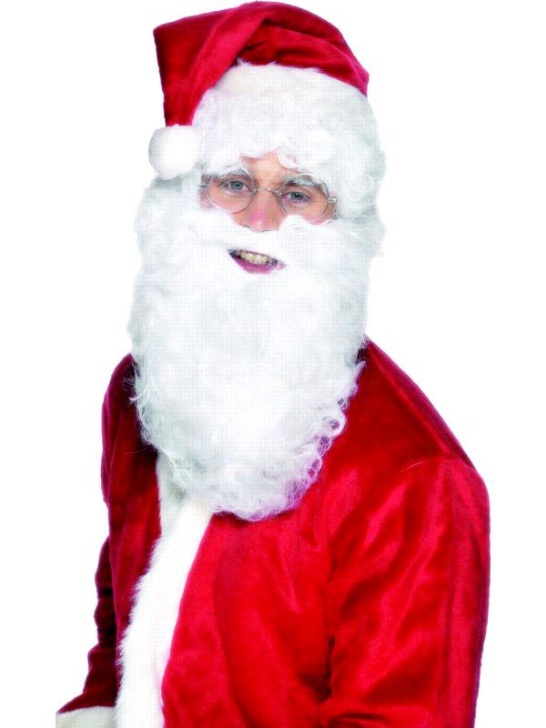 Perruque Pere Noël Barbe de Santa Deluxe en Nylon blanc