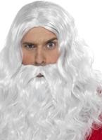 Barbe et perruque longue de Santa Perruque Pere Noël