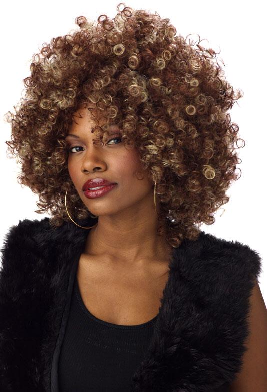 Perruque Afro Fine Foxy BOF brune et Blonde perruque