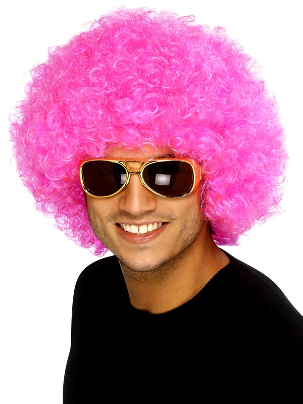 Perruque Afro Funky perruque rose Afro