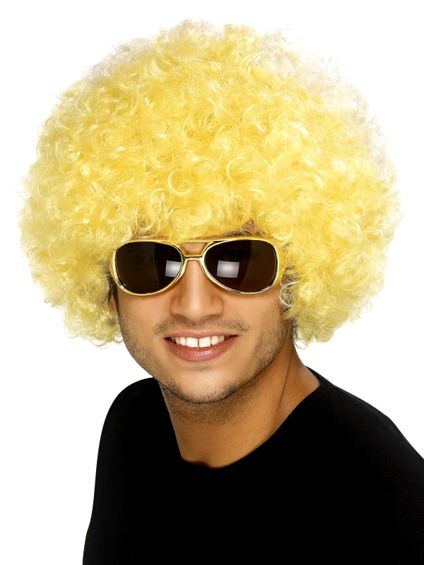 Perruque Afro Funky perruque jaune Afro