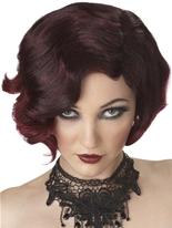 Puttin ' on le Ritz noir et Bourgogne perruque Perruque Années 1920