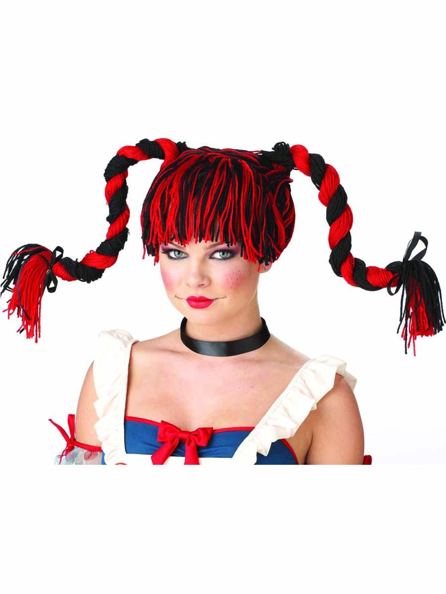 Perruque Femme Classique Superbe perruque Rag Doll rouge et noir