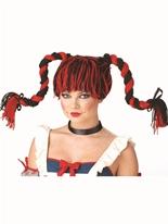 Superbe perruque Rag Doll rouge et noir Perruque Femme Classique