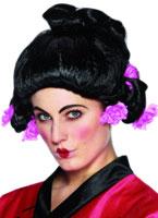 Perruque de Geisha Girl avec fleurs roses Perruque Femme Classique