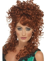 Perruque Auburn de Saloon Girl Perruque Femme Classique