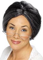 Mamie chignon perruque Fibre gris Perruque Femme Classique