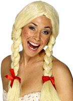 Écolière Néerlandaise perruque Blonde Perruque Femme Classique