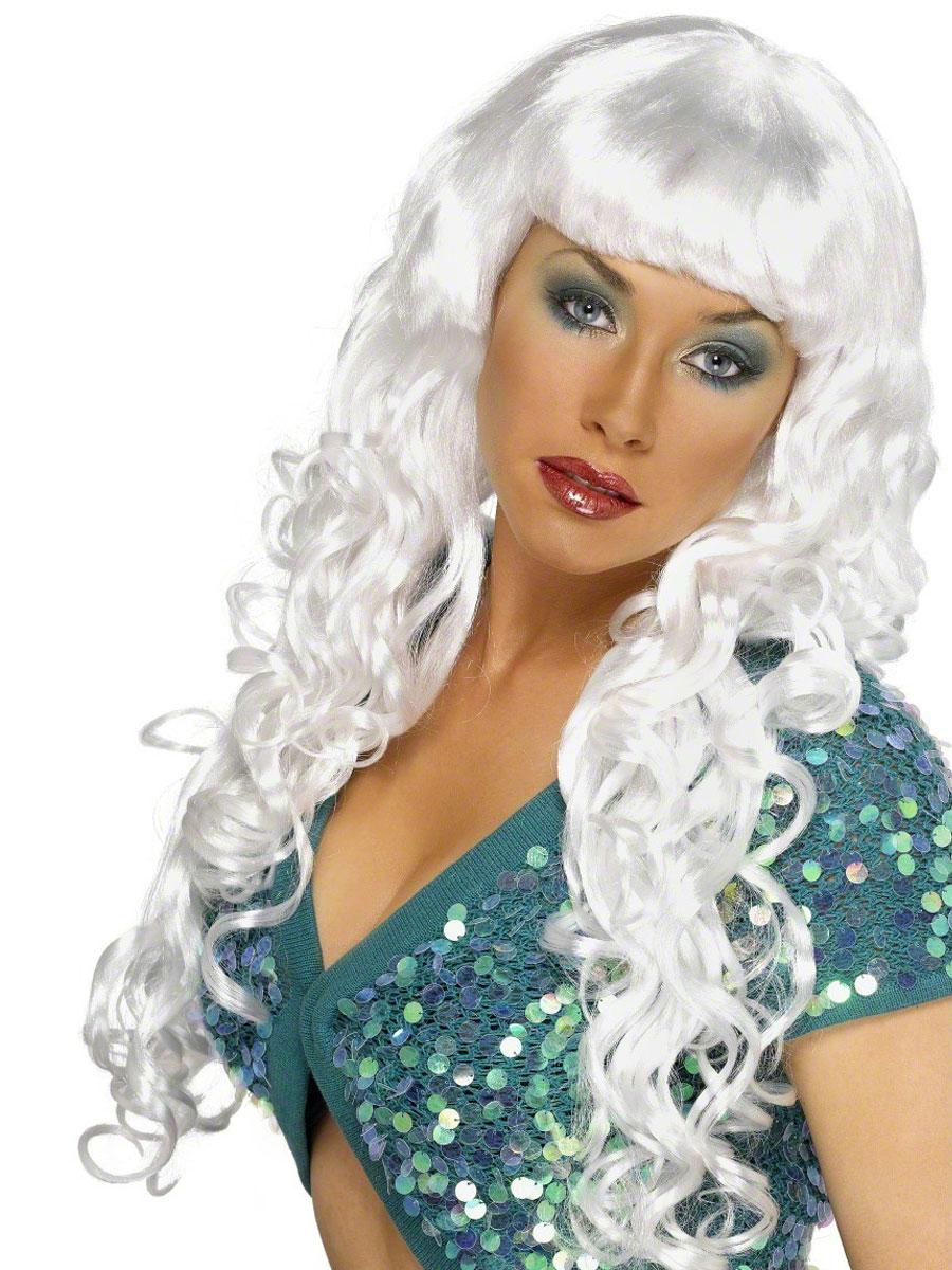 Perruque Glamour Ladies Sirène bouclés Perruque blanche