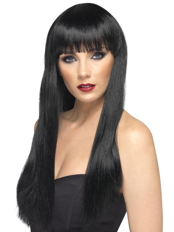 Perruque Glamour Ladies Black perruque longue ligne droite de beauté