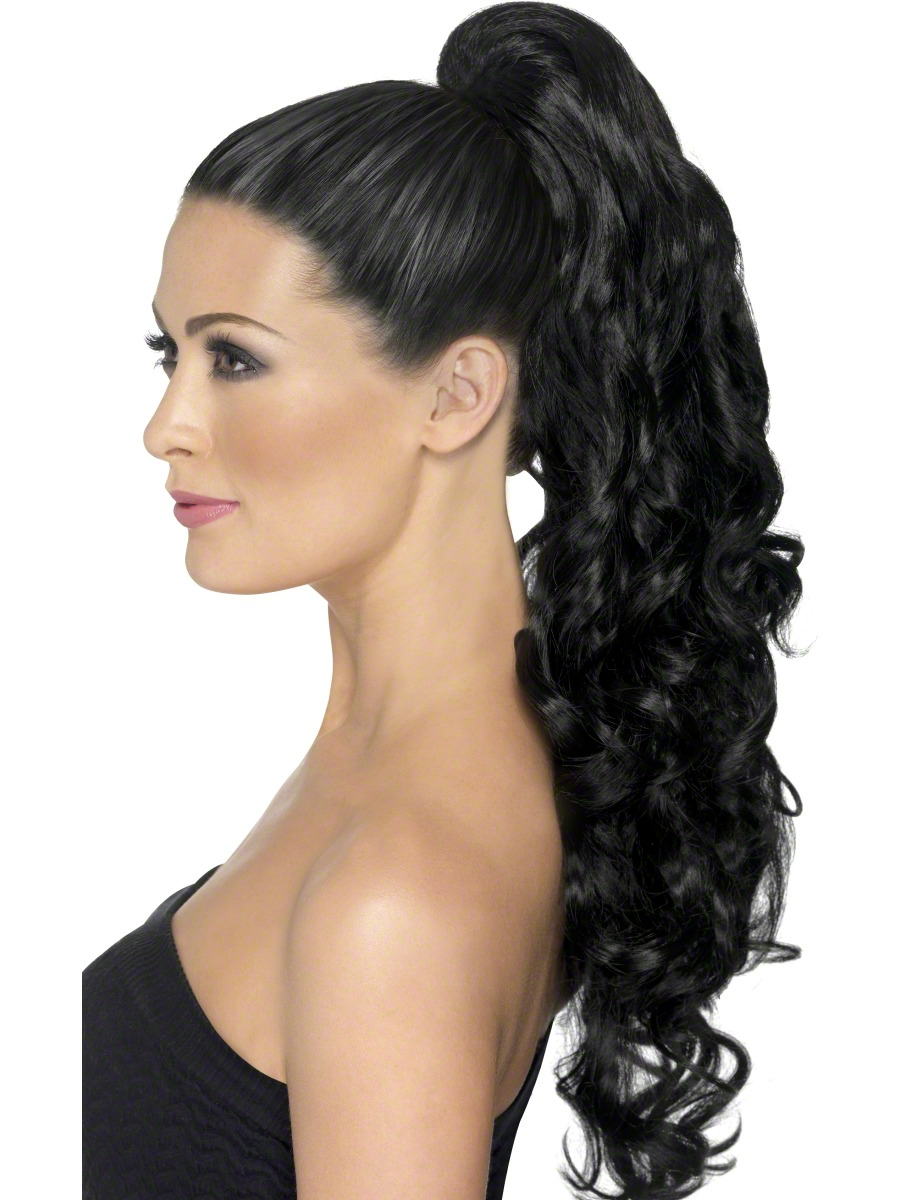 Perruque Glamour Ladies Divinité noir + Clip Extension de cheveux