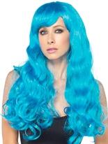 Starbright longue perruque ondulée néon bleu Perruque Glamour Ladies