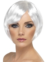 Court Bob Babe perruque blanche Perruque Glamour Ladies