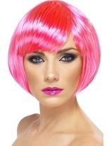 Perruque Babe rose néon Perruque Glamour Ladies