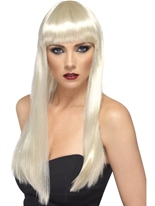 Blonde perruque longue ligne droite de beauté Perruque Glamour Ladies