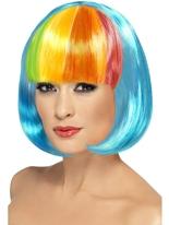 Perruque Partyrama bleu néon Perruque Glamour Ladies