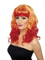 Perruque de Divatastic orange et rouge Perruque Glamour Ladies