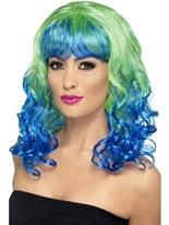 Perruque de Divatastic vert et bleu Perruque Glamour Ladies