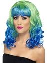 Perruque Glamour Ladies Perruque de Divatastic vert et bleu