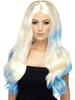Perruque de blonde et bleu Dip Dye Perruque Glamour Ladies