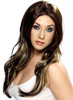 Tentatrice brune longue perruque Perruque Glamour Ladies