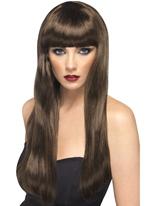 Perruque longue ligne droite de beauté avec frange brun Perruque Glamour Ladies
