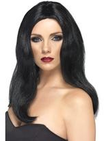 Affriolante longue perruque noire Perruque Glamour Ladies