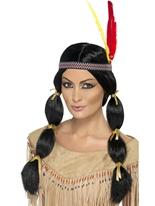 Mesdames noir perruque indien Perruque Indiens