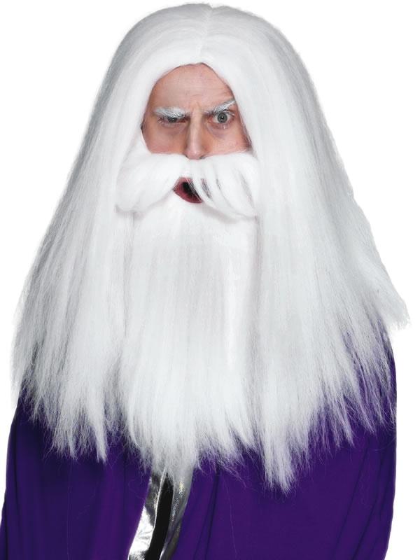 Perruques Homme Magiciens perruque et barbe mis en blanc