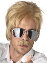 Moustache et ace perruque Blonde détective Perruques Homme