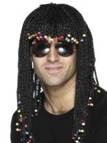 Perruque tressée et perlé noir Perruques Homme