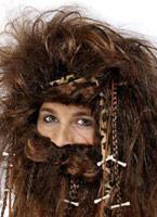 Perruque homme des cavernes et barbe Set Perruques Homme
