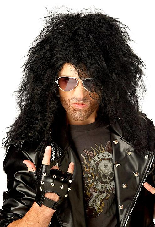 Perruque Star de la Pop Heavy Metal Rocker perruque noire