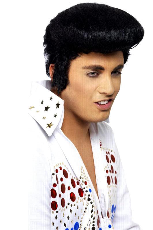 Perruque Star de la Pop Perruque d'Elvis Deluxe noir