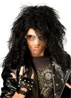 Heavy Metal Rocker perruque noire Perruque Star de la Pop