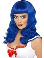 California Girl Blue perruque Perruque Star de la Pop