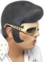Perruque Star de la Pop Elvis bandeau noir et or