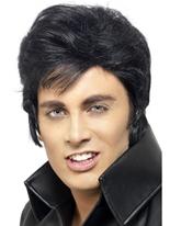 Perruque Elvis noir Perruque Star de la Pop